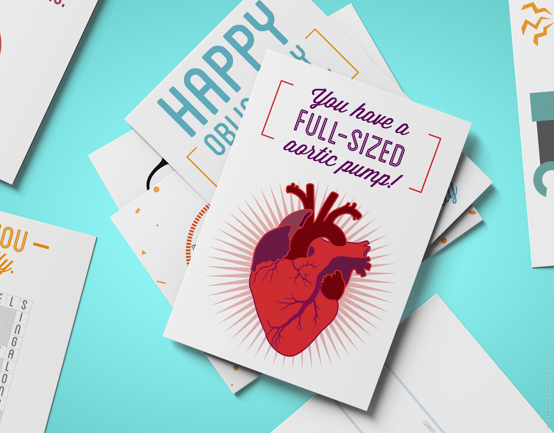 Geekery Greetings cards by Charm Design Studio