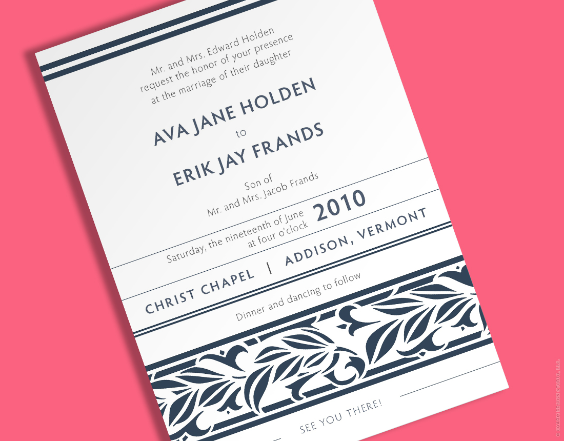 Springtime wedding invitation by Charm Design Studio