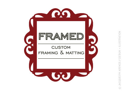 Framed custom framing and matting identity design