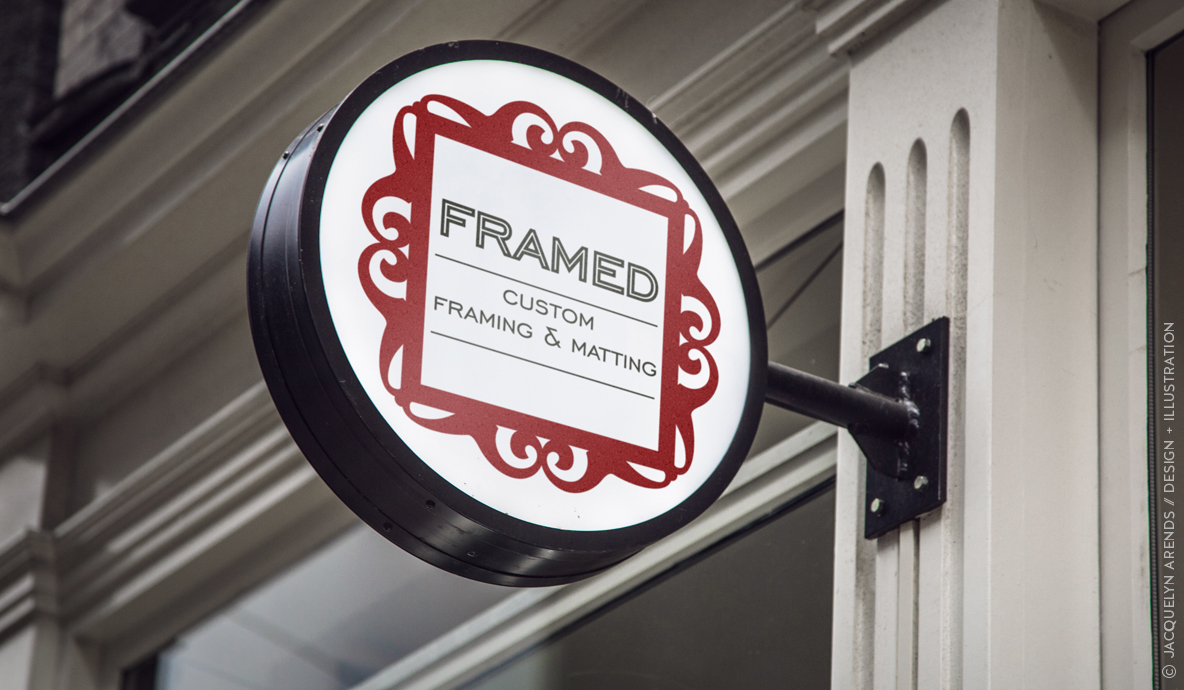 Framed - custom framing and matting shop sign