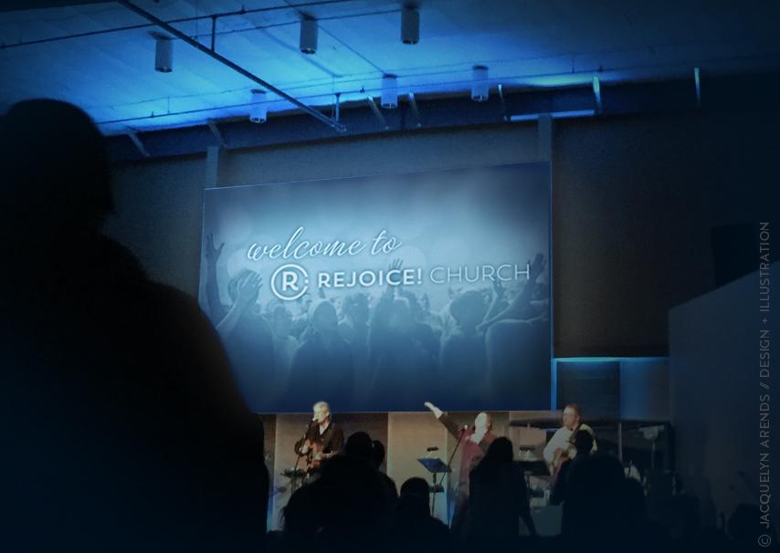 Rejoice! Church welcome screen Worship Night