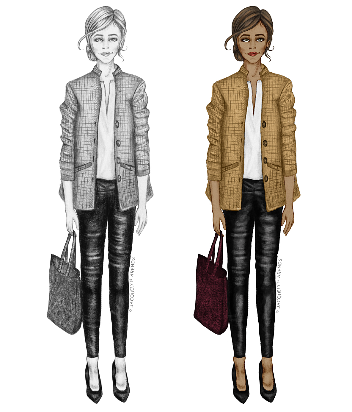 Fashion illustration study — sketched version and digitally painted sketch version