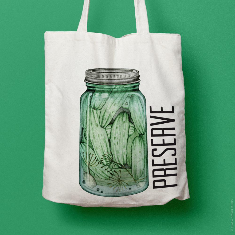 A Little Bit Crunchy pickle tote bag; © Charm Design Studio