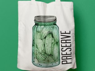 A Little Bit Crunchy pickle tote bag; © Charm Design Studio
