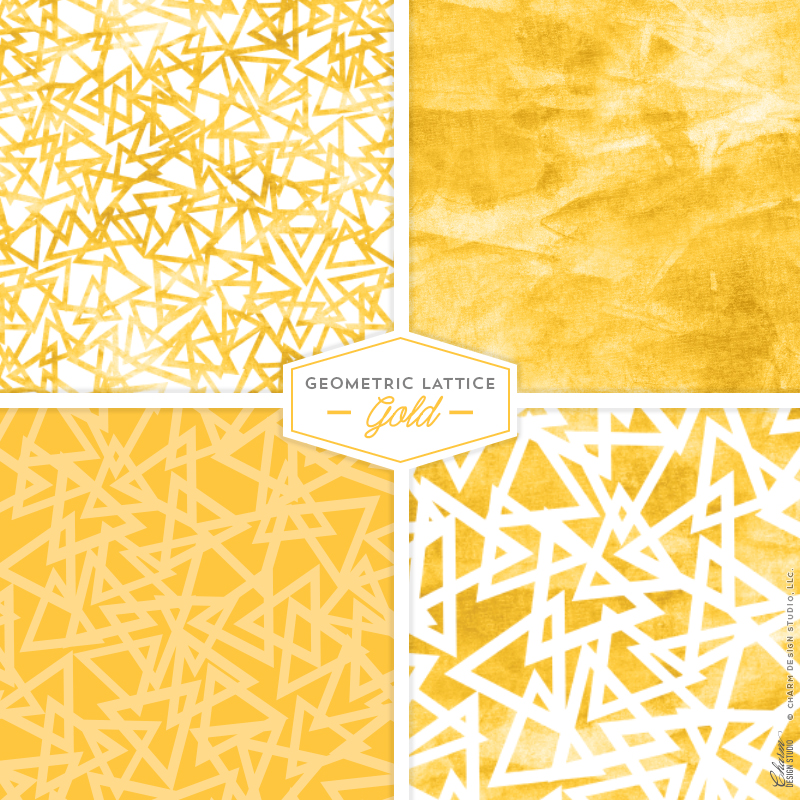 "Charm Design Studio ""Geometric Lattice"" repeating surface pattern design - Gold"