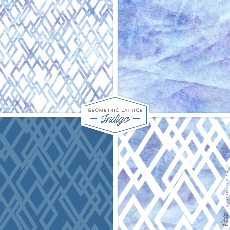 "Charm Design Studio ""Geometric Lattice"" repeating surface pattern design - Indigo"