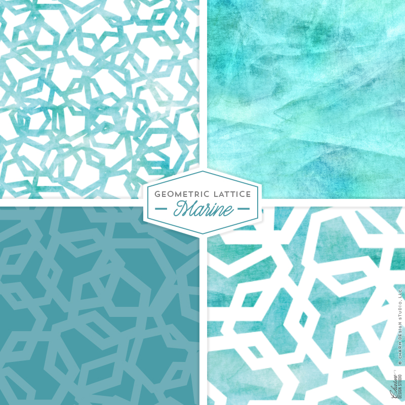 "Charm Design Studio ""Geometric Lattice"" repeating surface pattern design - Marine"
