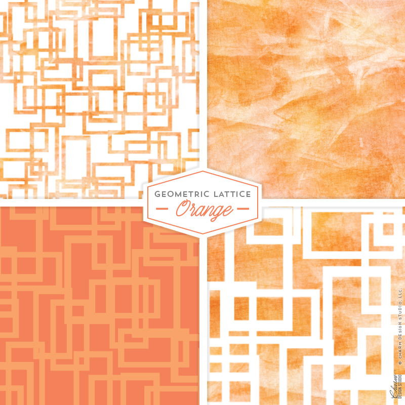 "Charm Design Studio ""Geometric Lattice"" repeating surface pattern design - Orange"