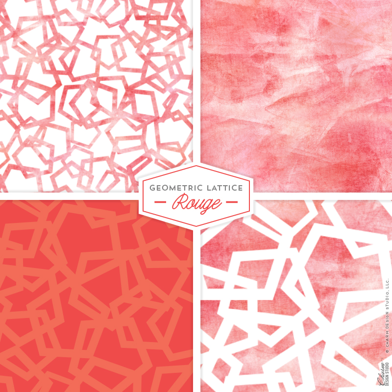 "Charm Design Studio ""Geometric Lattice"" repeating surface pattern design - Rouge"