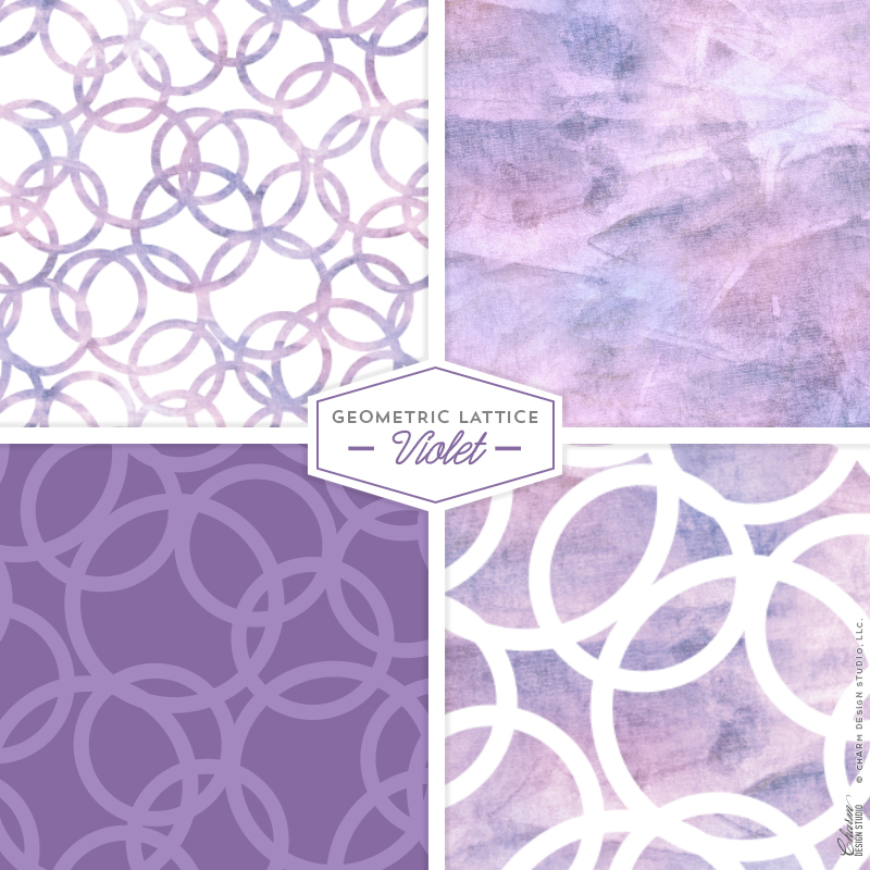 "Charm Design Studio ""Geometric Lattice"" repeating surface pattern design - Violet"