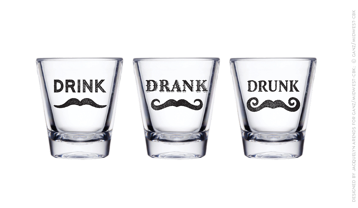 Men's Gift 2018 - Drink Drank Drunk shot glasses; © Ganz/Midwest-CBK 2018