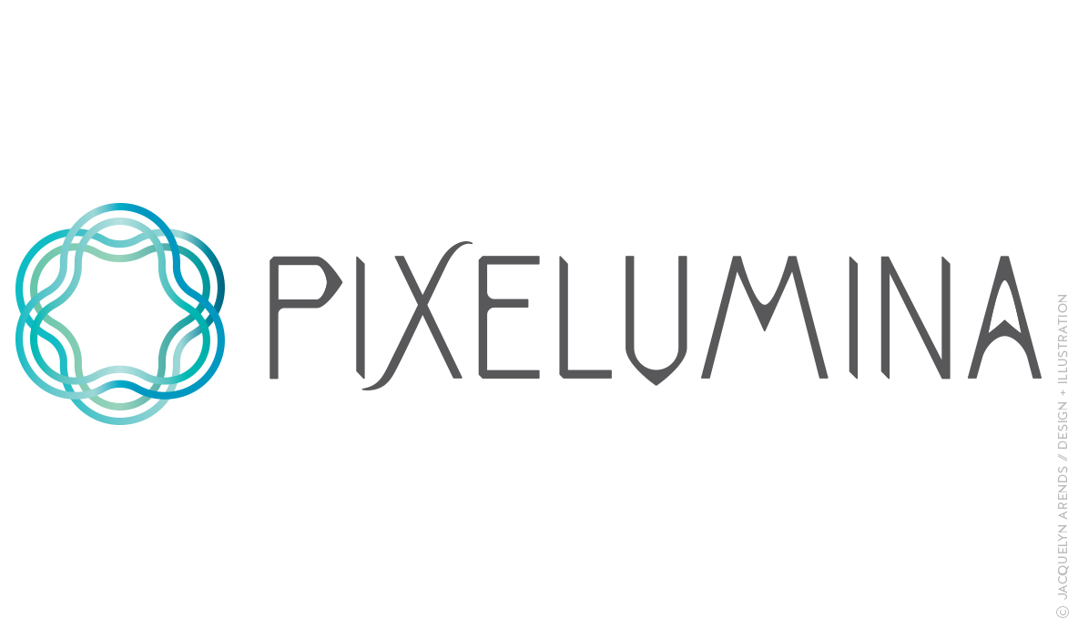 Pixelumina identity design; copyright Jacquelyn Arends
