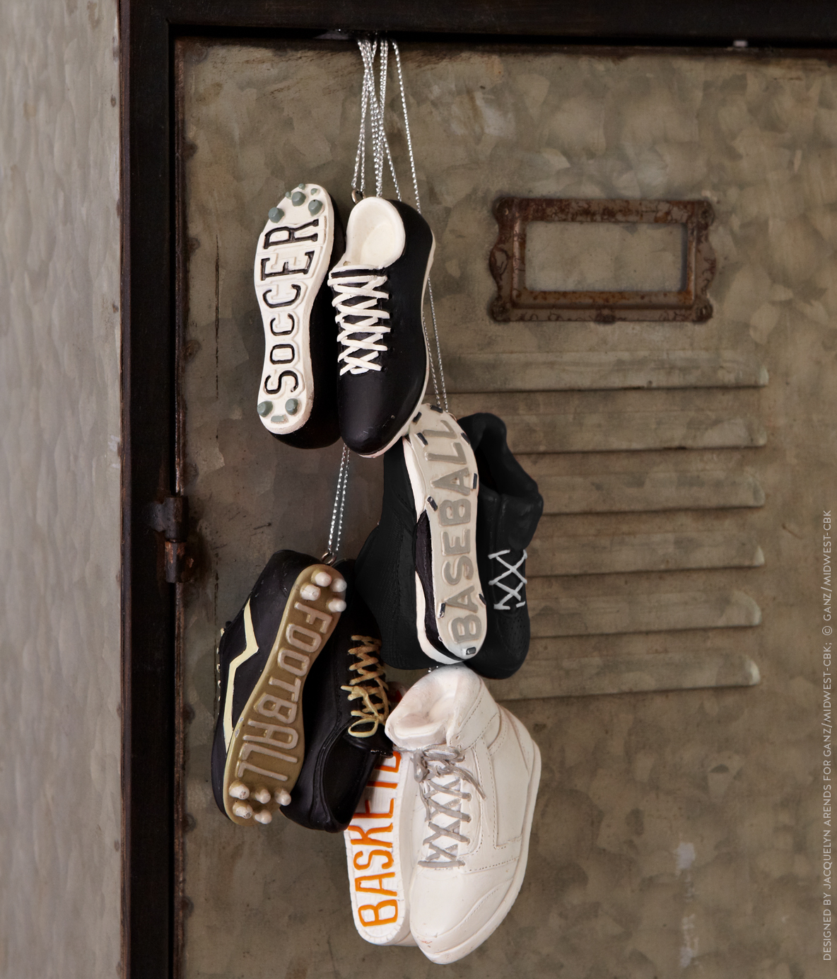 Styled shoot of Specialty Ornaments Athletic Shoes ornaments designed by Jacquelyn Arends; © Ganz/Midwest-CBK 2019