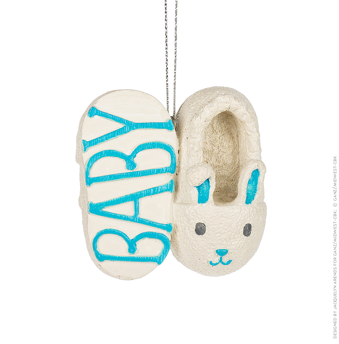 Specialty Ornaments Baby Slippers in Blue ornament by Jacquelyn Arends; © Ganz/Midwest-CBK 2019