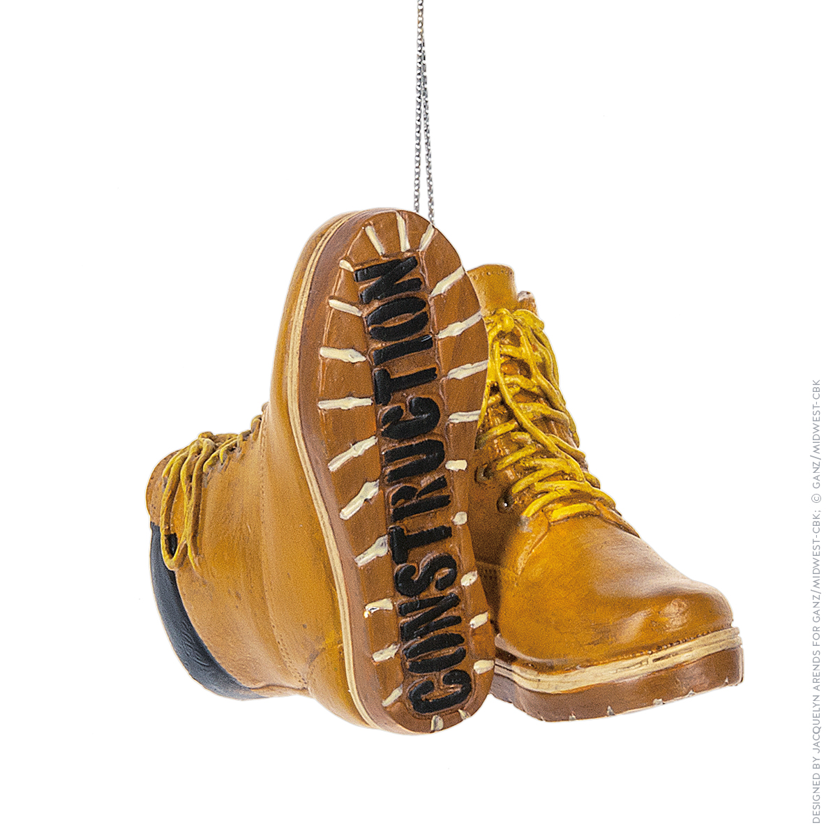 Specialty Ornaments Construction Boots ornament by Jacquelyn Arends; © Ganz/Midwest-CBK 2019