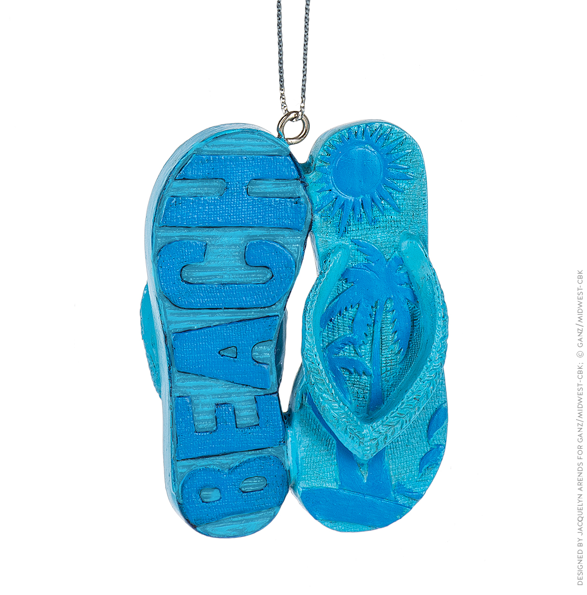 """Specialty Ornaments """"Beach"""" Flip Flops ornament by Jacquelyn Arends; © Ganz/Midwest-CBK 2019"""