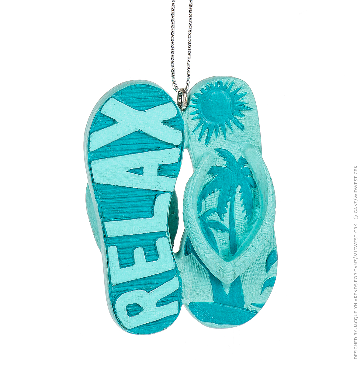 "Specialty Ornaments ""Relax"" Flip Flops ornament by Jacquelyn Arends; © Ganz/Midwest-CBK 2019"