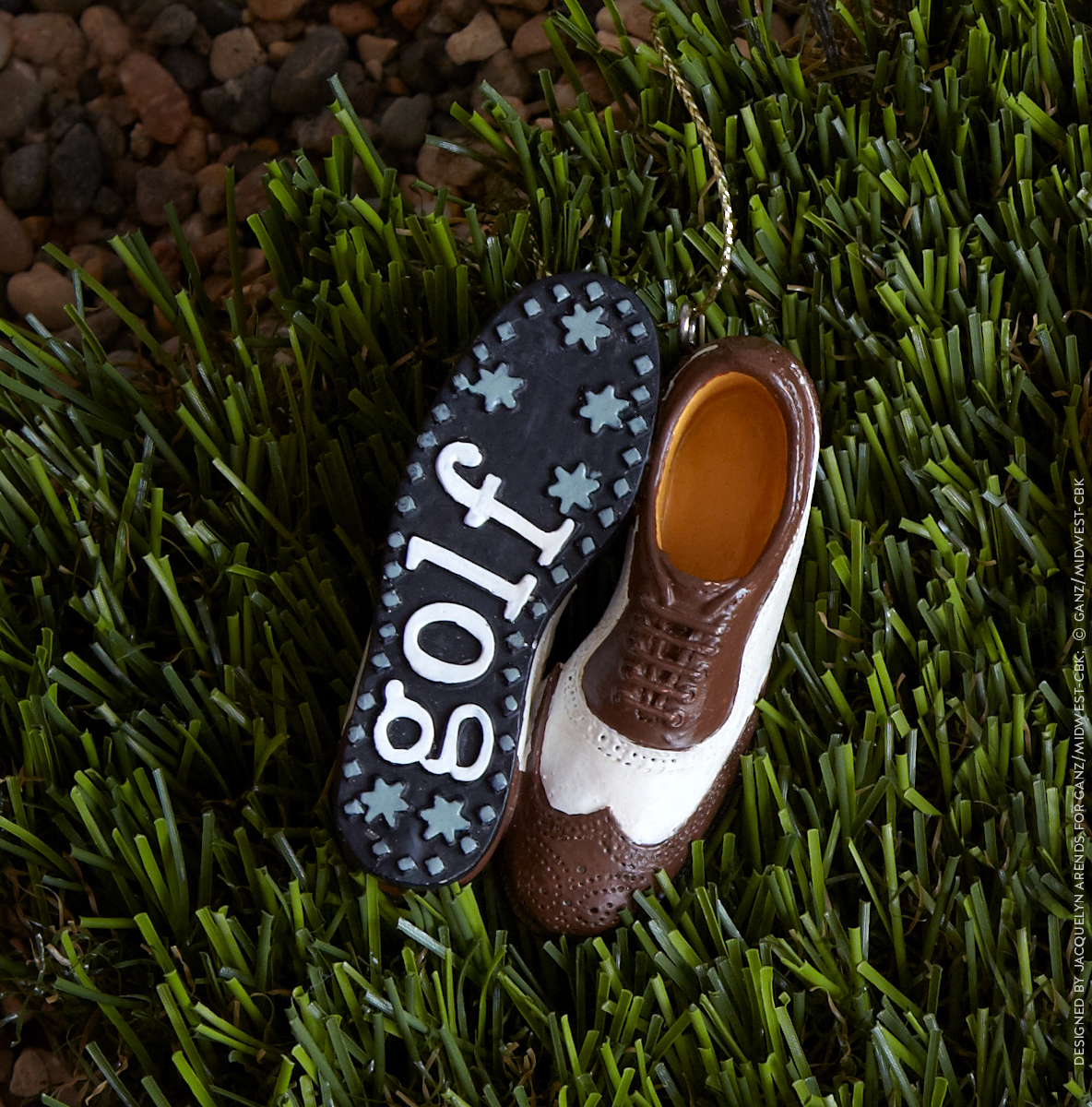 Styled shoot of Specialty Ornaments Golf Shoes ornaments designed by Jacquelyn Arends; © Ganz/Midwest-CBK 2019