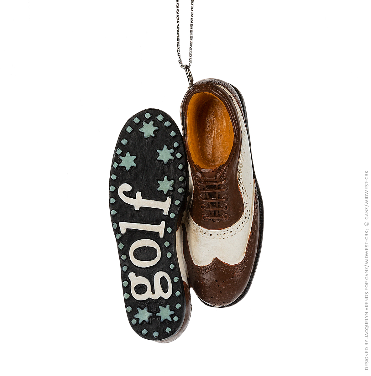 Specialty Ornaments Golf Shoes ornament by Jacquelyn Arends; © Ganz/Midwest-CBK 2019