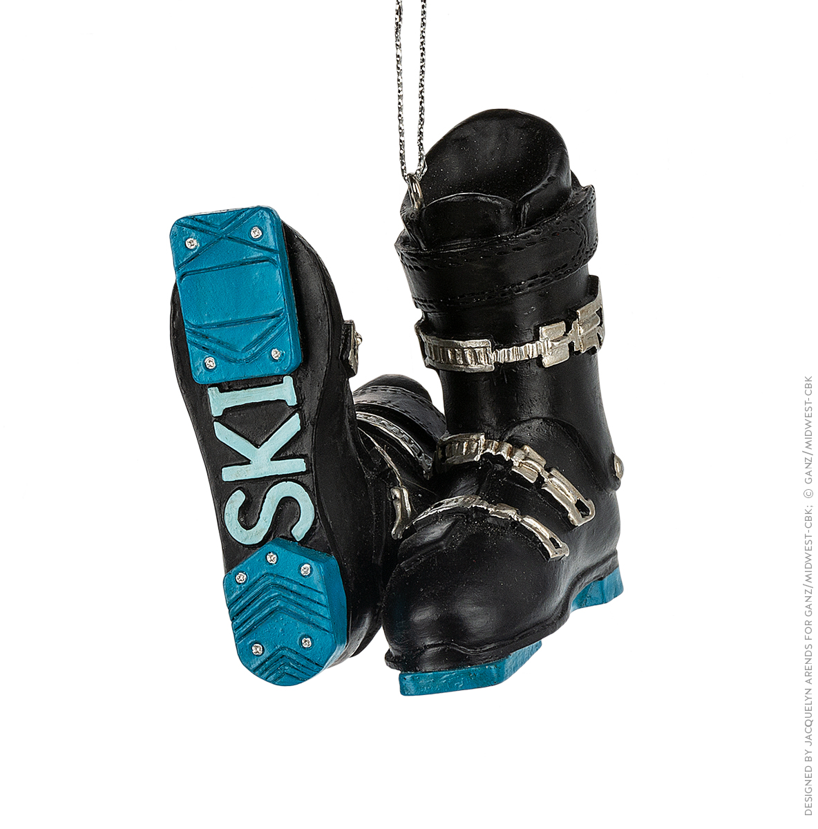 Specialty Ornaments Ski Boots ornament by Jacquelyn Arends; © Ganz/Midwest-CBK 2019