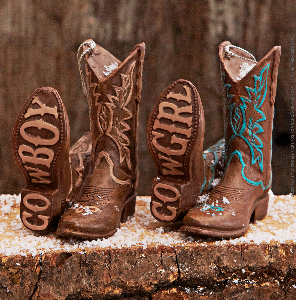 Styled shoot of Specialty Ornaments Western Boots ornaments designed by Jacquelyn Arends; © Ganz/Midwest-CBK 2019