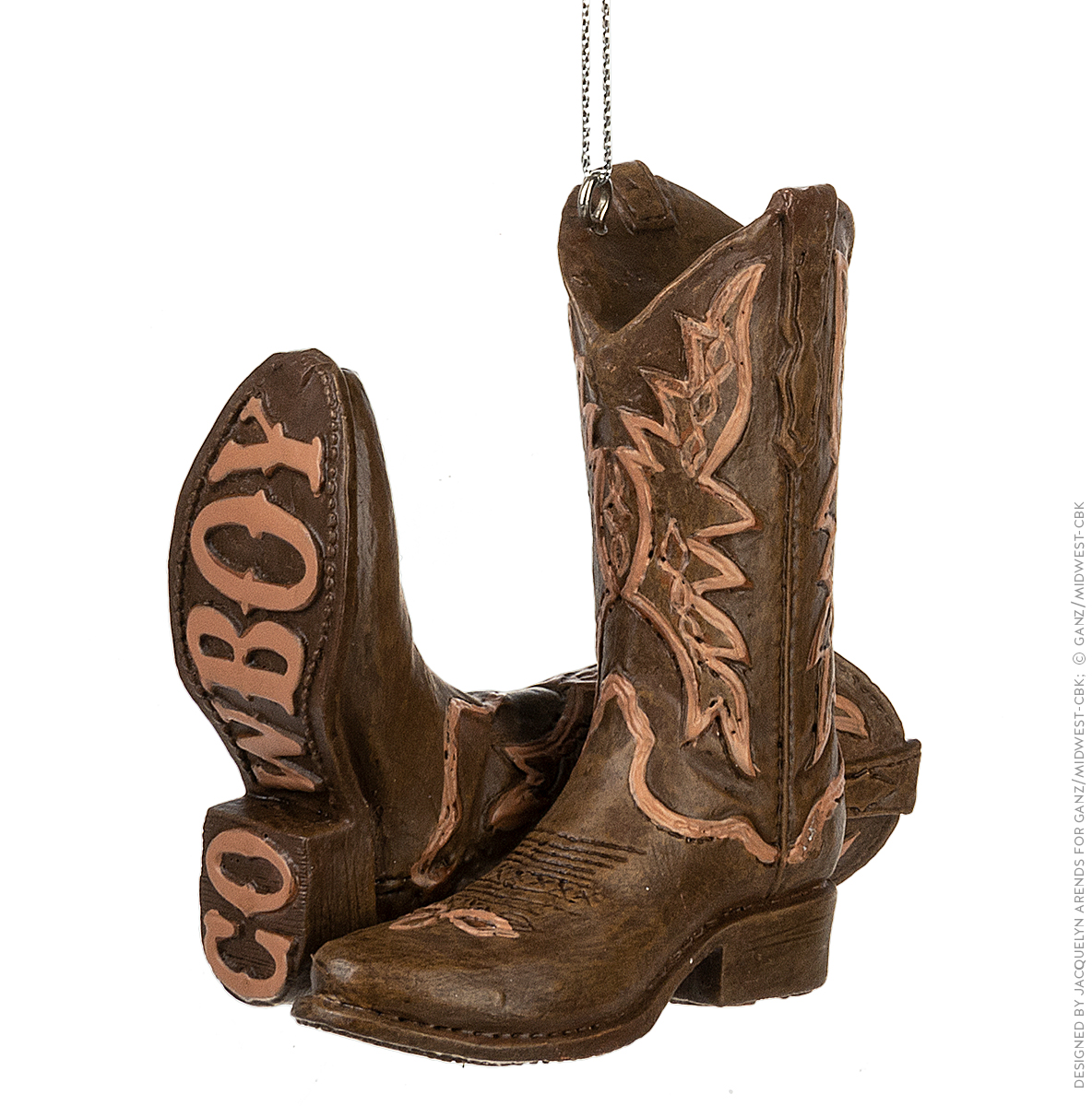 Specialty Ornaments Cowboy Boots ornament by Jacquelyn Arends; © Ganz/Midwest-CBK 2019