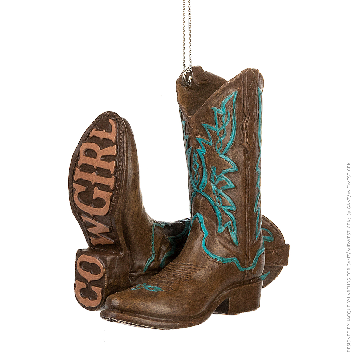 Specialty Ornaments Cowgirl Boots ornament by Jacquelyn Arends; © Ganz/Midwest-CBK 2019