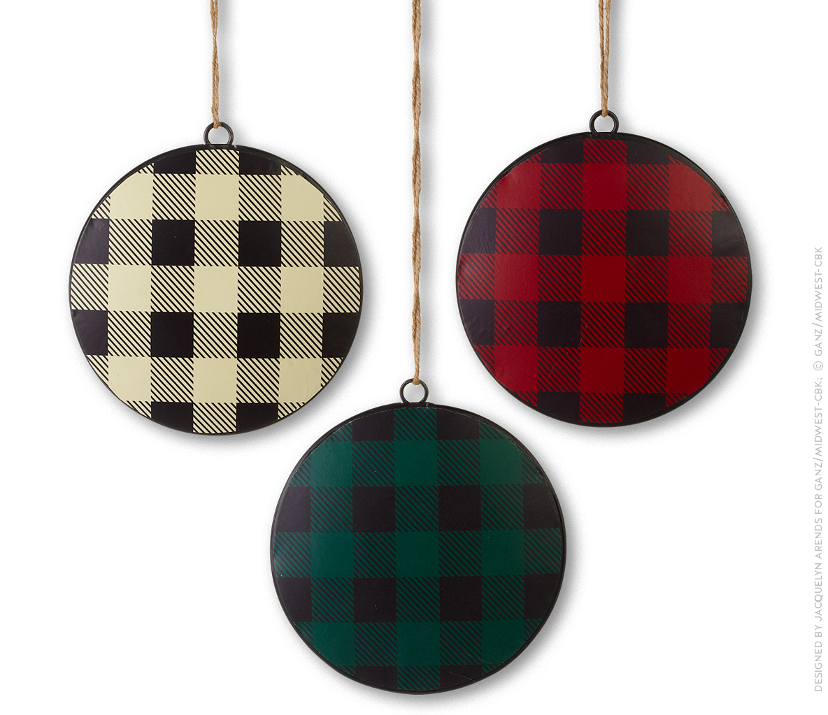 Plaid Puffed Metal Ornaments; © Ganz/Midwest-CBK 2019
