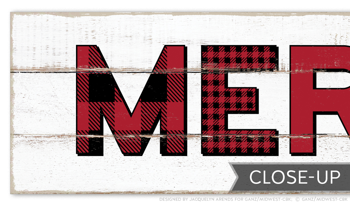 Merry Christmas Plaid Letters Wall Decor Sign close-up; © Ganz/Midwest-CBK 2019