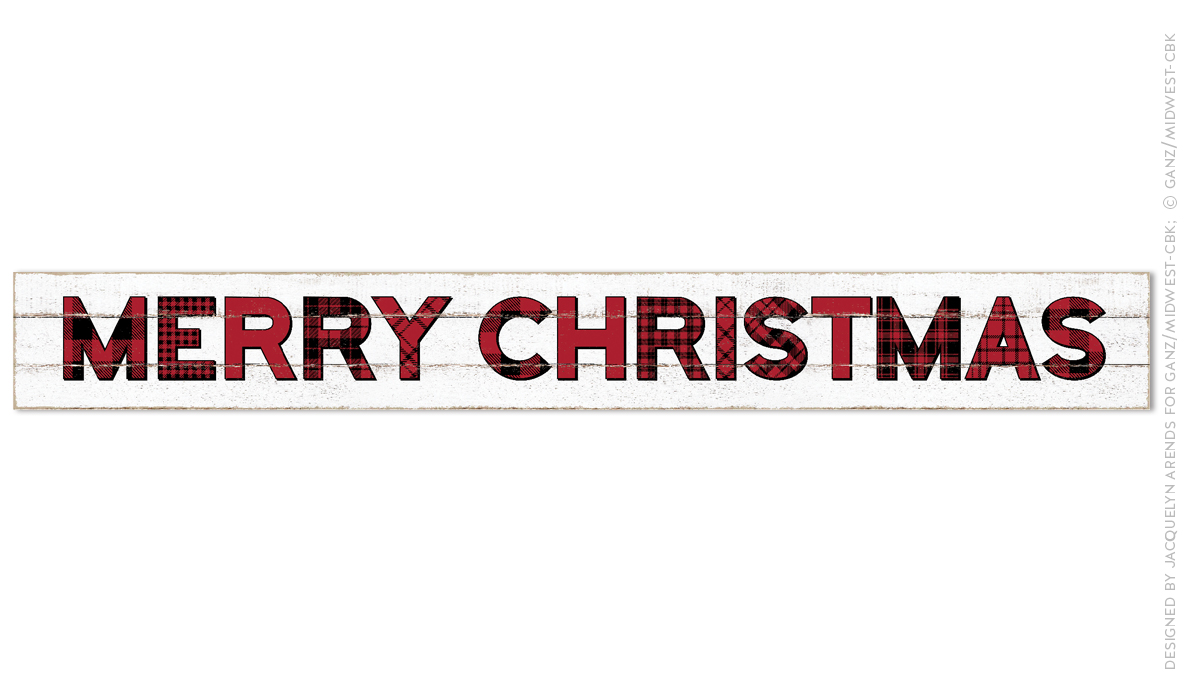 Merry Christmas Plaid Letters Wall Decor Sign; © Ganz/Midwest-CBK 2019