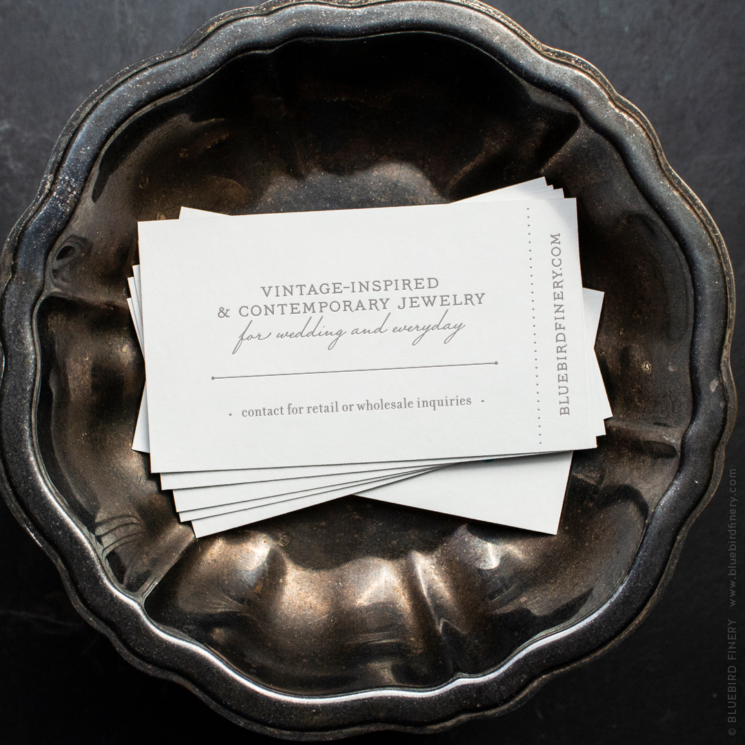 Bluebird Finery business card back / © Jacquelyn Arends