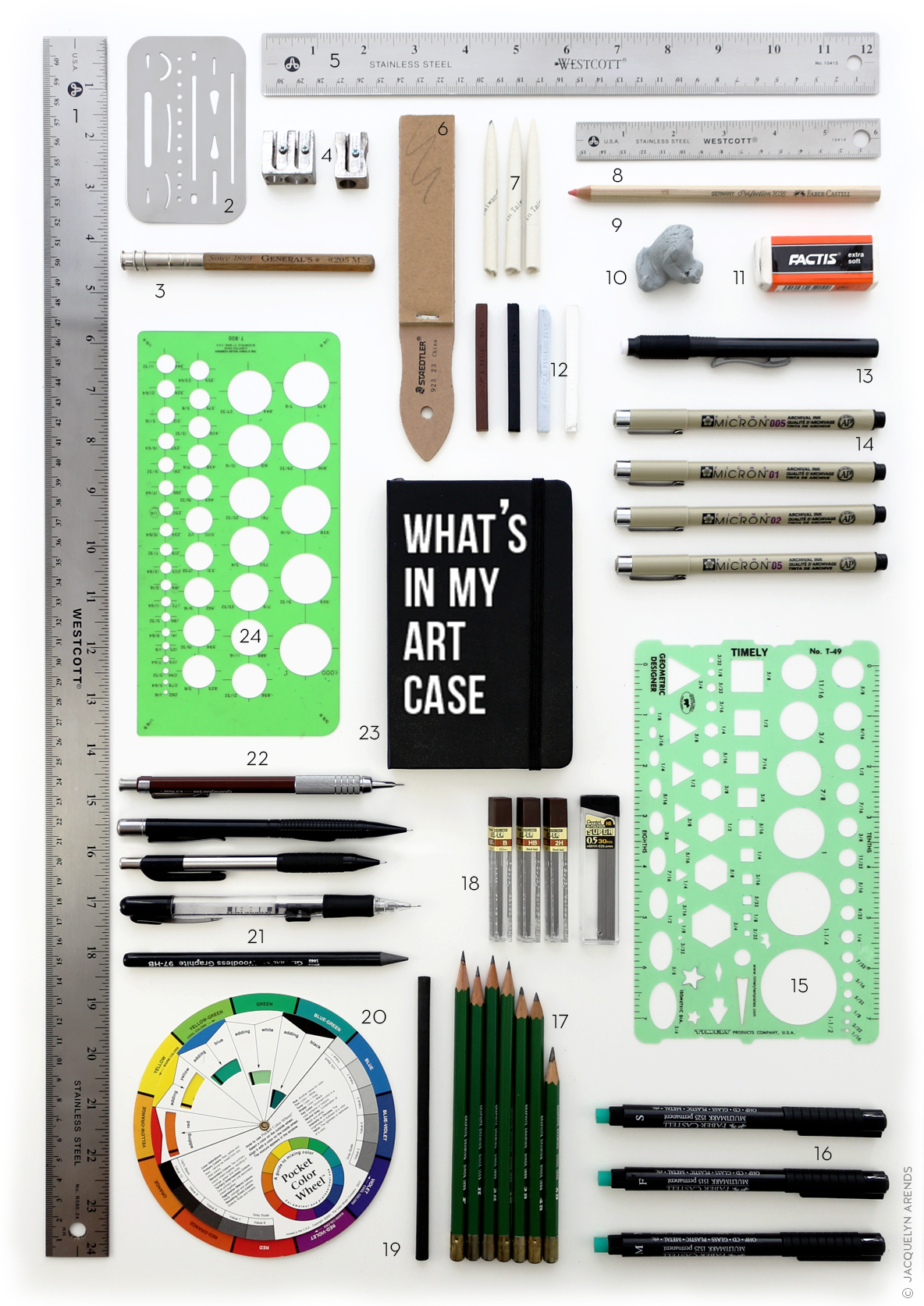 Styled flat lay image of art supplies for blog post; © Jacquelyn Arends