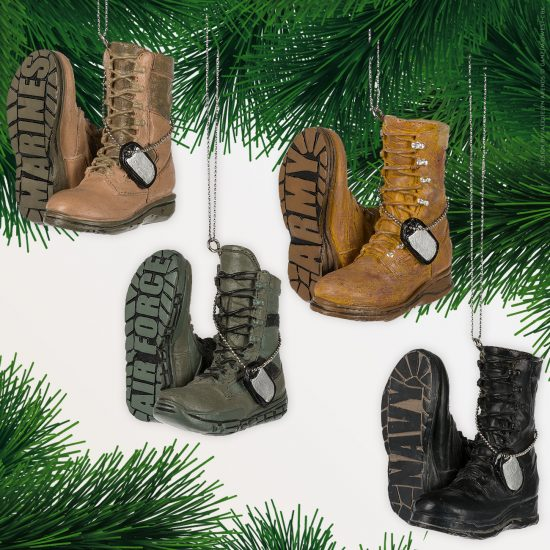 Specialty Ornaments Military Boot ornaments designed by Jacquelyn Arends; © Ganz/Midwest-CBK 2018