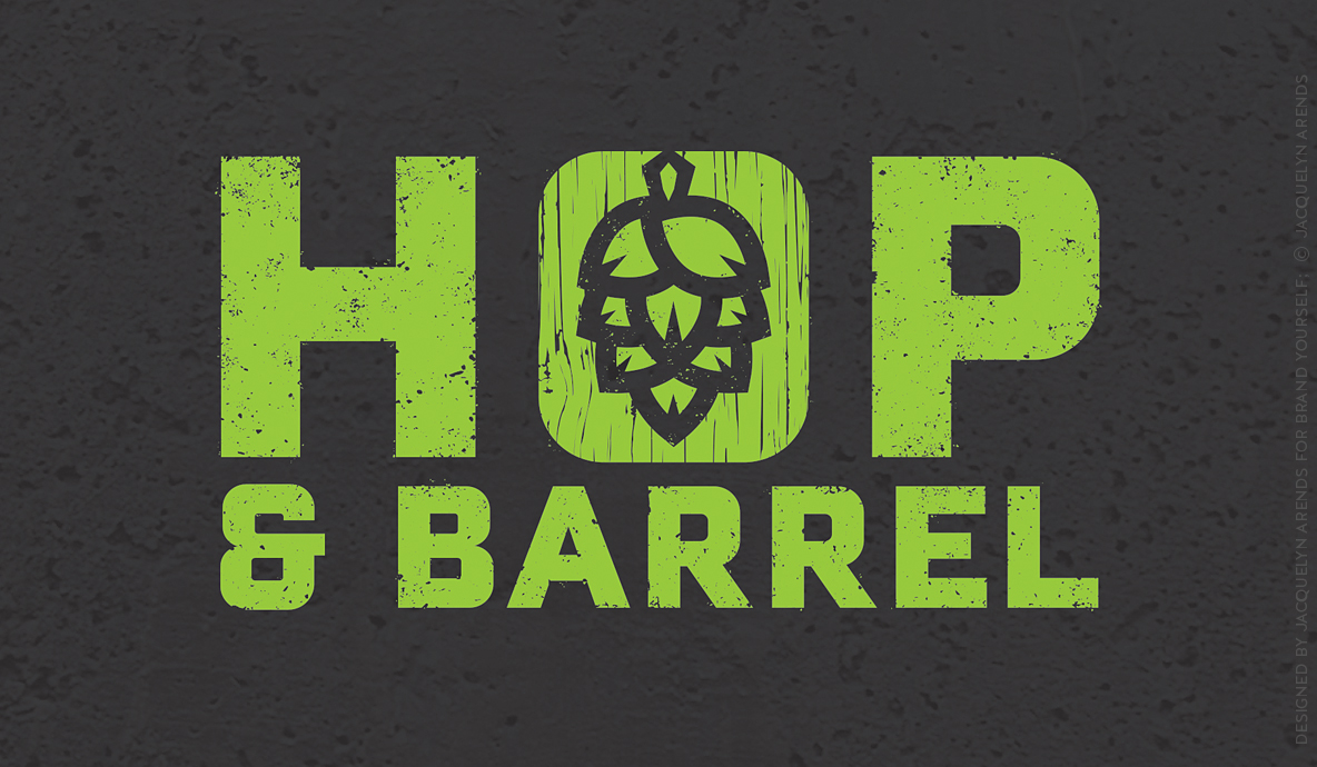 Hop & Barrel Brewing Company; logo design for Brand Yourself, © Jacquelyn Arends