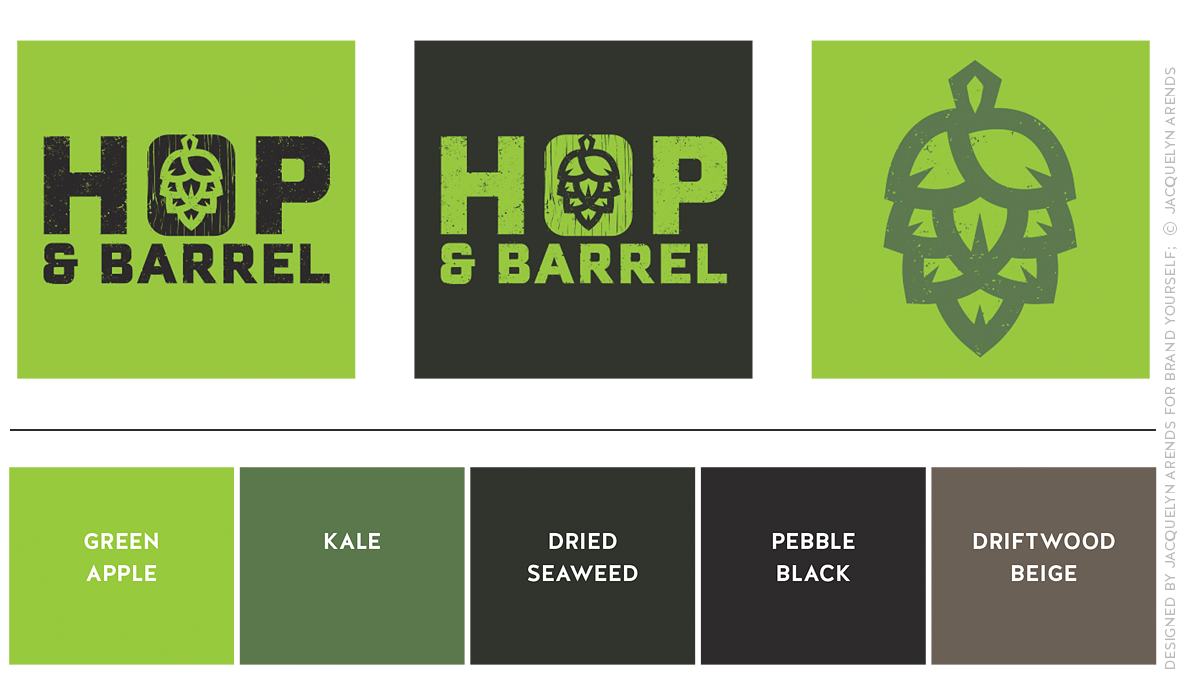 Hop & Barrel Brewing Company; brand colors for Brand Yourself, © Jacquelyn Arends